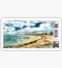 Elie Shorefront [Digital Landscape and Architecture Illustration] Scottish Seaside Towns Sticker