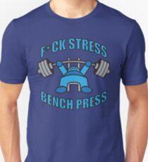 F*CK STRESS, BENCH PRESS - Kawaii Blue T-Shirt
