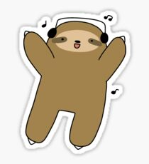 Dancing Headphones Sloth Sticker