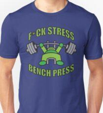F*CK STRESS, BENCH PRESS - Kawaii Green T-Shirt
