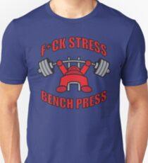 F*CK STRESS, BENCH PRESS - Kawaii Red T-Shirt