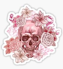 Pink Skull and Flowers Sticker