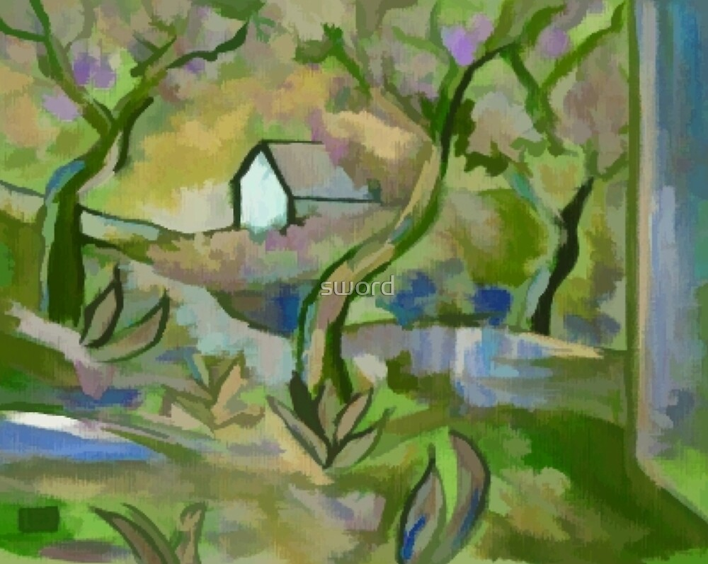 Impressionist landscape by sword