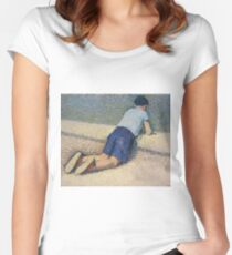 Henri Martin - The Boy Laying On The Board Of The Pool At The Garden Of Luxembourg At Paris, 1932-35 Women's Fitted Scoop T-Shirt