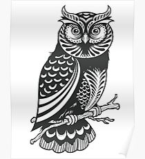 Woodcut Owl Poster