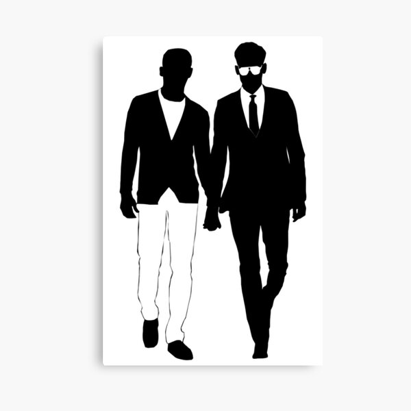 2 guys holding hands - Black on White  - Gay Interest - from Bent Sentiments Canvas Print