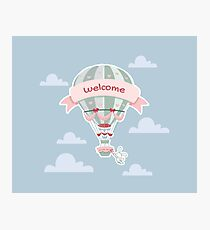 Hot ballon flying with a bunny Photographic Print