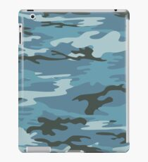Blue Military Camouflage Pattern  iPad Case/Skin