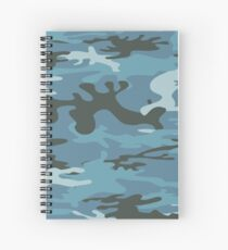 Blue Military Camouflage Pattern  Spiral Notebook