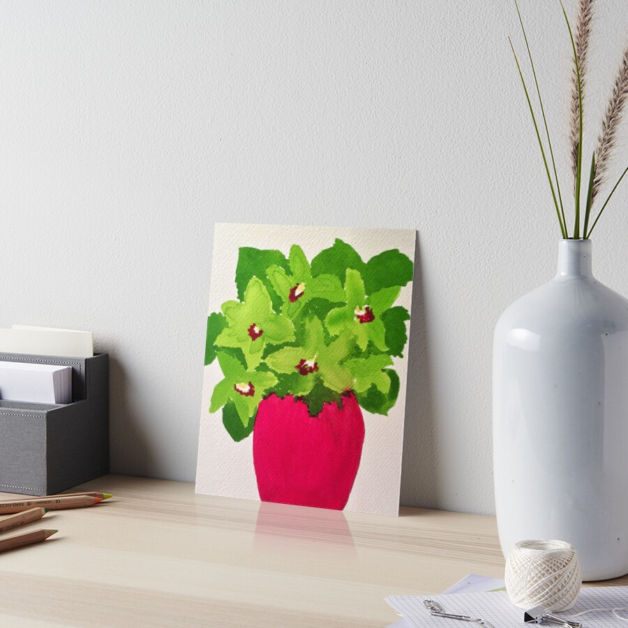 Chartreuse Orchids Art Board Print