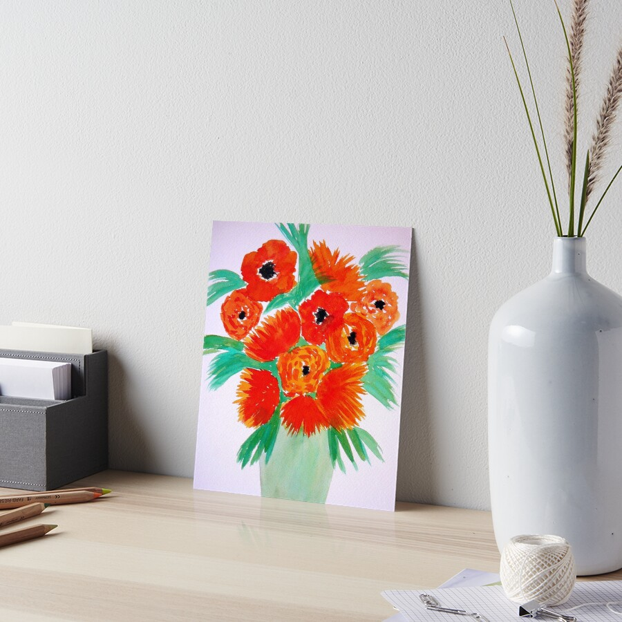 Orange Flowers in a Vase Art Board Print