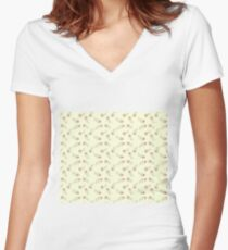 Tiny Flowers  Women's Fitted V-Neck T-Shirt