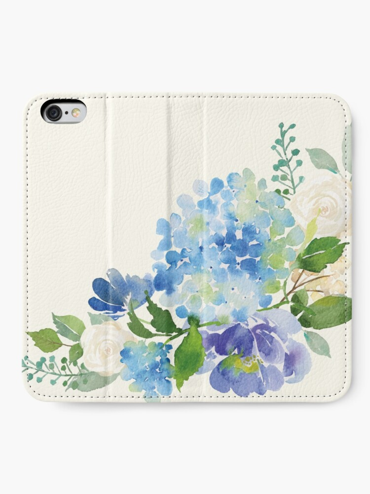 Alternate view of Blue Watercolor Hydrangea iPhone Wallet