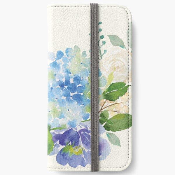 Blue Watercolor Hydrangea iPhone Wallet