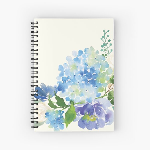 Blue Watercolor Hydrangea Spiral Notebook