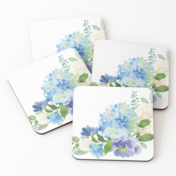 Blue Watercolor Hydrangea Coasters (Set of 4)