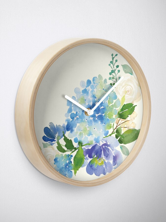 Alternate view of Blue Watercolor Hydrangea Clock