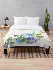 Blue Watercolor Hydrangea Throw Blanket
