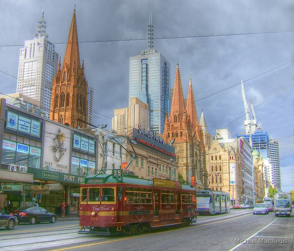Melbourne Icons On Flinders by Michael Matthews
