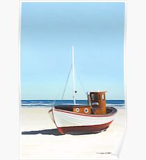 Fishing boat on beach Poster
