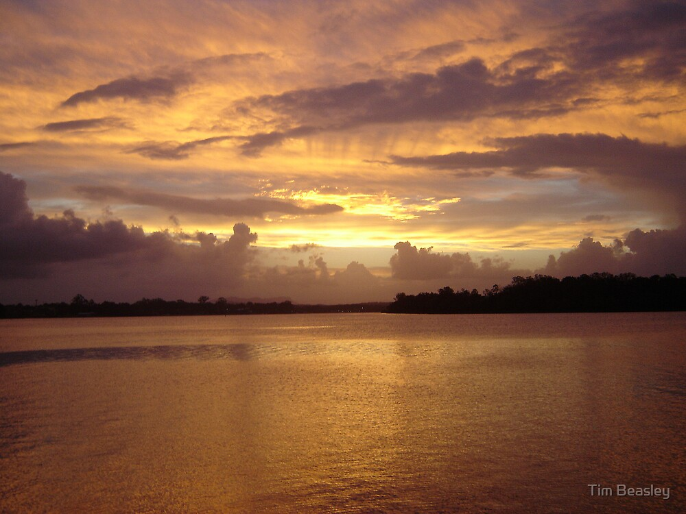 Sunset over Hastings river by Tim Beasley