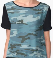 Blue Military Camouflage Pattern  Chiffon Top