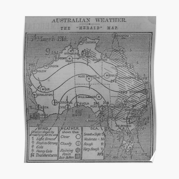 Australian Weather Map 3 March 1914 Poster