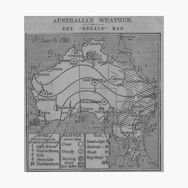 Australian Weather Map 3 March 1914 Photographic Print