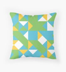 Blue Jeans, Kiwi & Sunglow Abstract Pattern Throw Pillow