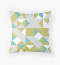 Dark Khaki, Platinum & Pewter Blue Abstract Pattern Throw Pillow