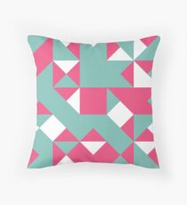 Cerise Pink, Royal Blue & Blue (Munsell) Abstract Pattern Throw Pillow