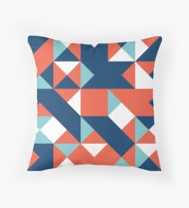 Carmine Pink, Dark Imperial Blue & Dark Sky Blue Abstract Pattern Throw Pillow