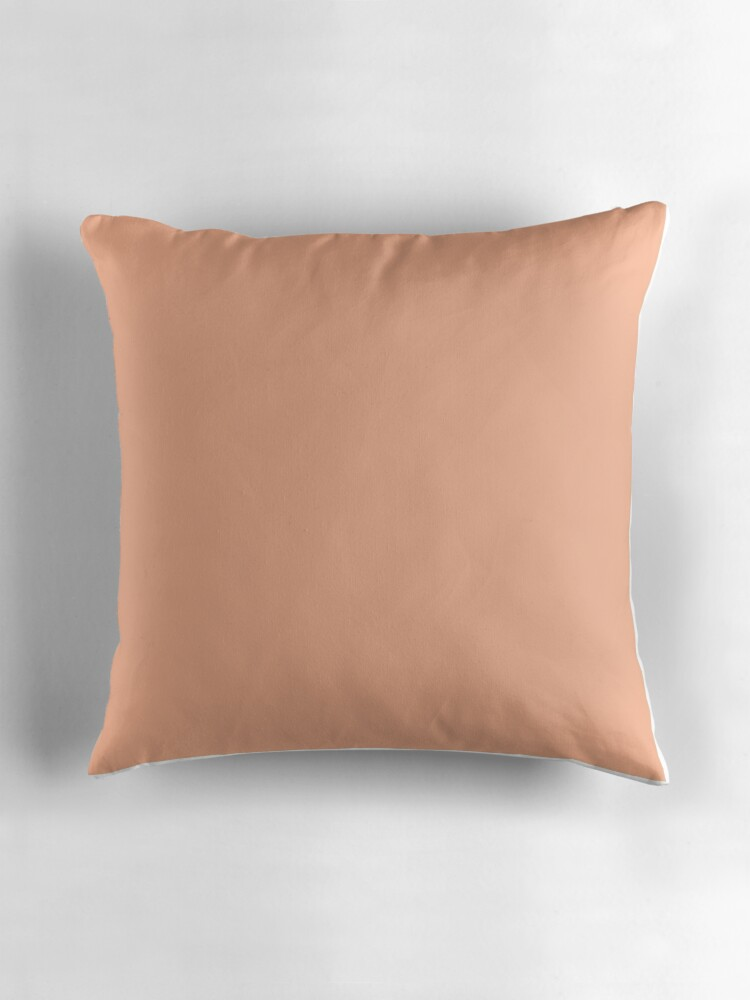 "Peach Orange Solid Color"" Throw Pillows by patternplaten"