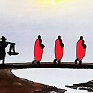 Monks on a Bridge by Ethna Gillespie