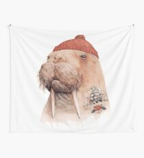 Tattooed Walrus (Red) Wall Tapestry