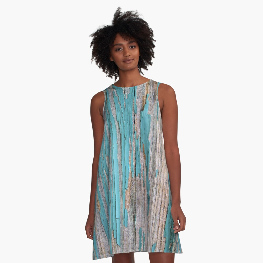 Shabby rustic weathered wood turquoise A-Line Dress