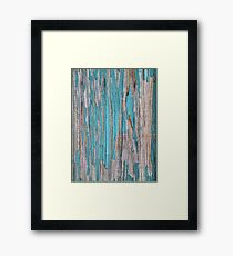 Shabby rustic weathered wood turquoise Framed Print