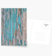 Shabby rustic weathered wood turquoise Postcards