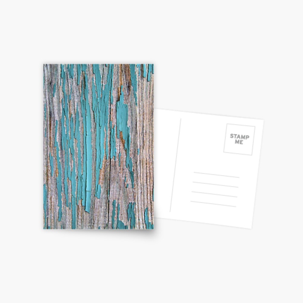 Shabby rustic weathered wood turquoise Postcard