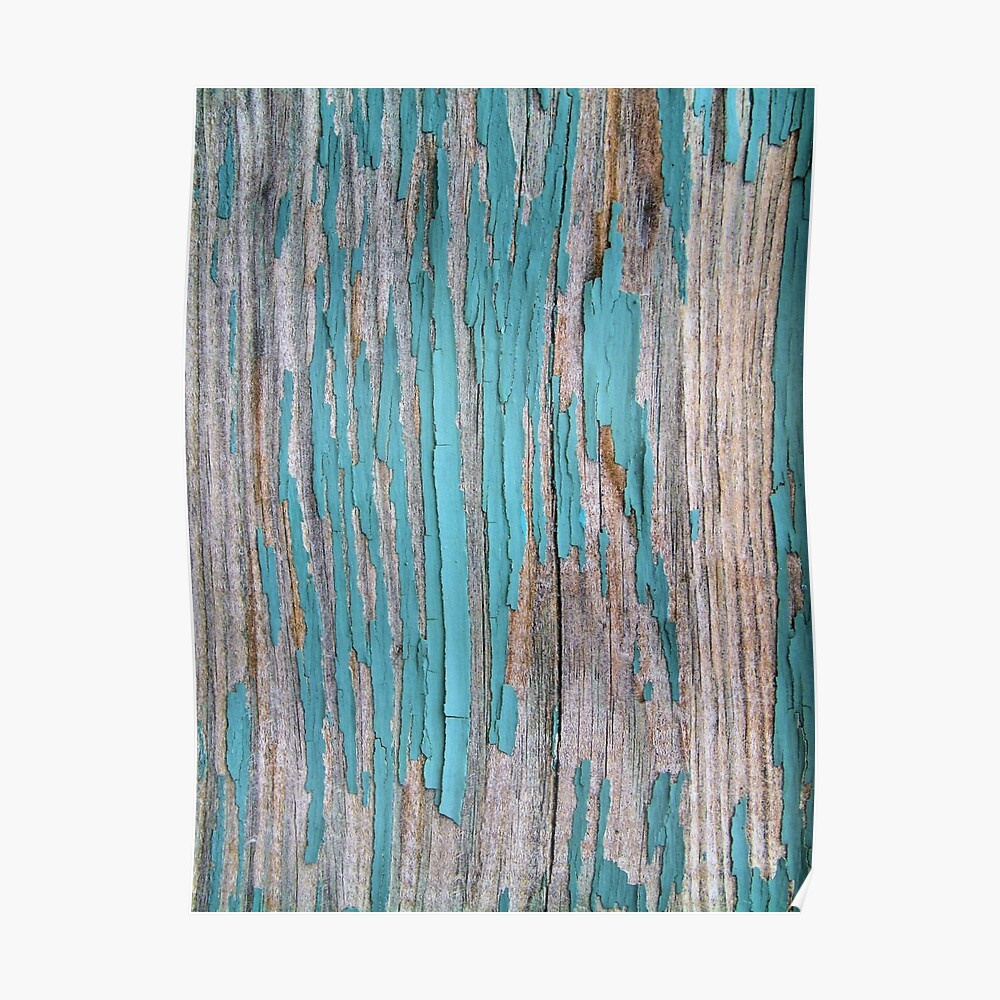 Shabby rustic weathered wood turquoise Poster