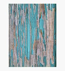 Shabby rustic weathered wood turquoise Photographic Print