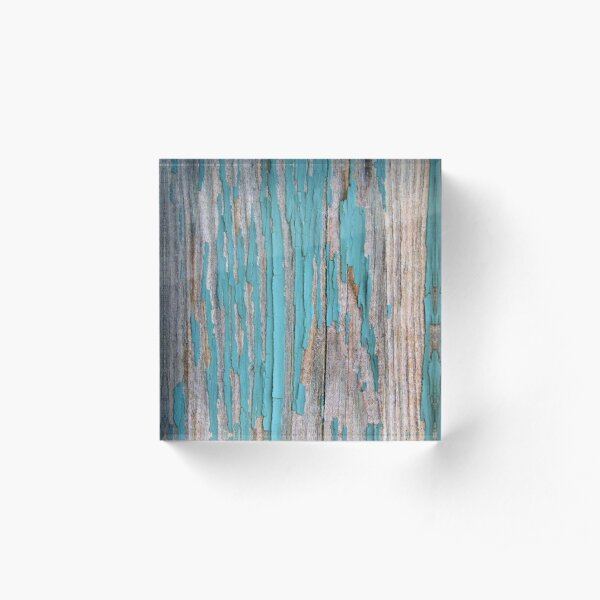 Shabby rustic weathered wood turquoise Acrylic Block