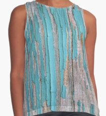 Shabby rustic weathered wood turquoise Contrast Tank