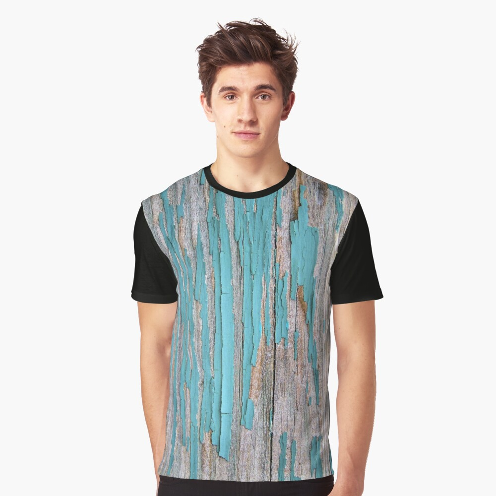 Shabby rustic weathered wood turquoise Graphic T-Shirt Front