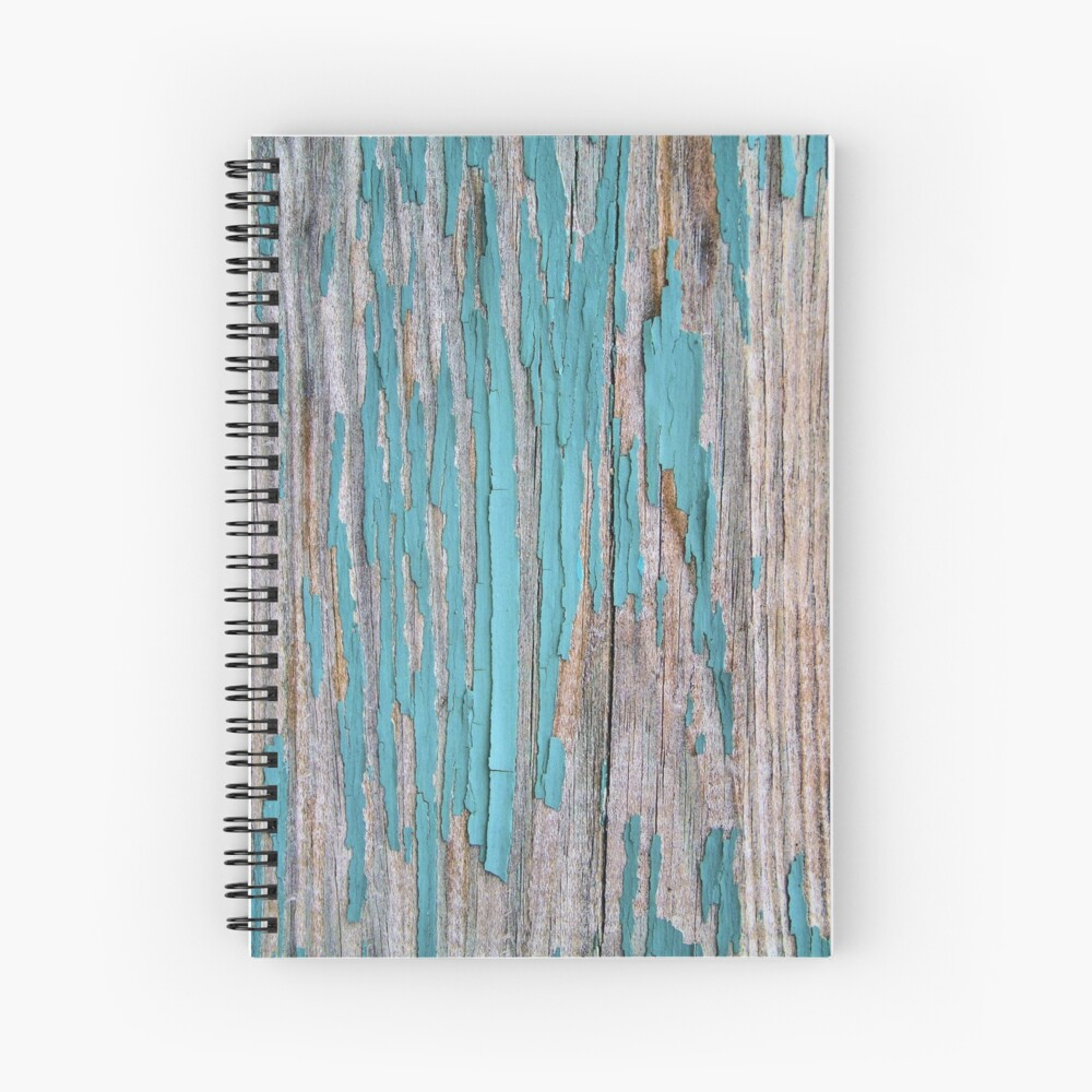 Shabby rustic weathered wood turquoise Spiral Notebook