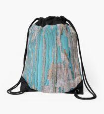 Shabby rustic weathered wood turquoise Drawstring Bag