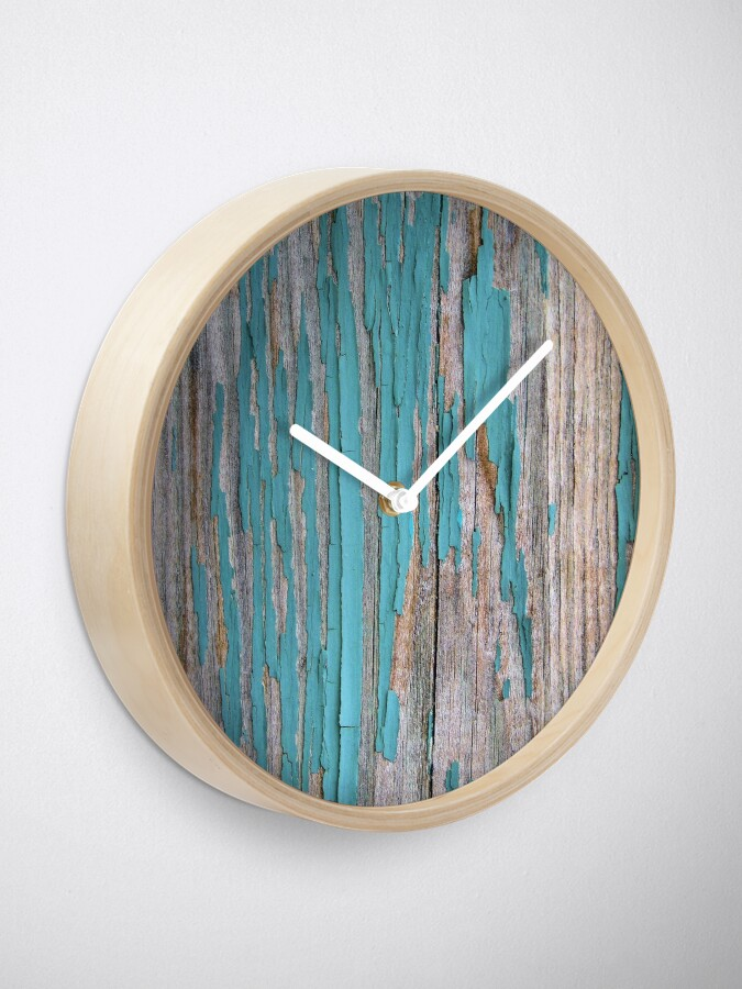 Alternate view of Shabby rustic weathered wood turquoise Clock