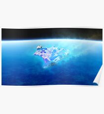 burning blue fire meteorite falling to earth Poster