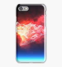 burning red fire meteorite falling to planet iPhone Case/Skin