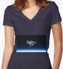 meteorite in space Women's Fitted V-Neck T-Shirt